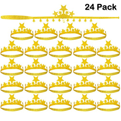 (24 Pack Gold Crown Plastic Party Golden Crowns Hats Princess Crowns for Party Birthday Celebration Baby Shower Photo)