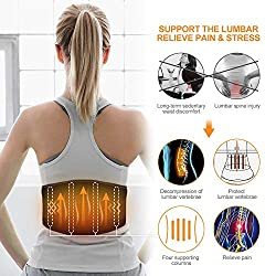 HUNT HEAT Heated Back Brace Massage Waist Wrap, Heated Waist Belt with Vibration Massager-7.4V Rechargeable Battery Operated Heating Therapy -for Abdominal and Back Pain Relief Lumbar Spine Arthritis