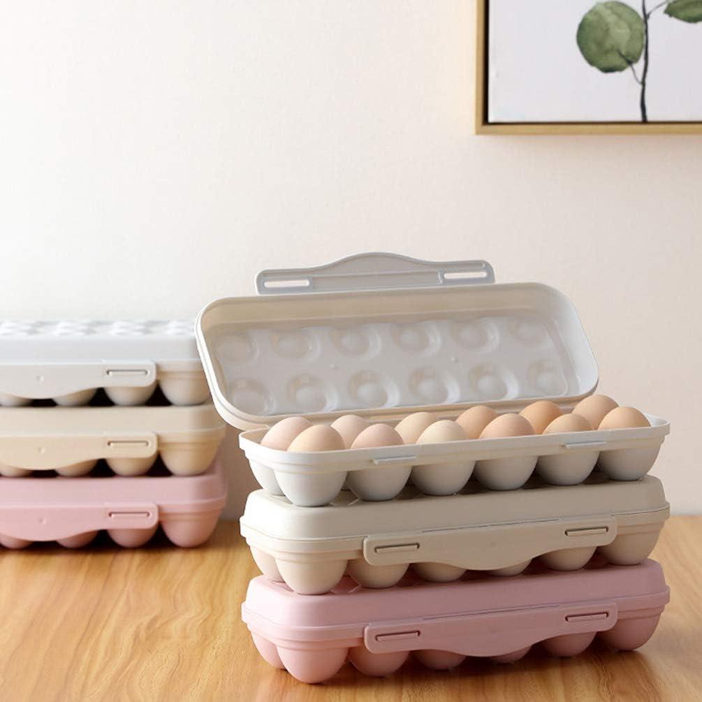 UPKOCH 2pcs Refrigerator Egg Holder Tray Plastic Egg Container Egg Storage Organizer With Lid 12 Grids Grey