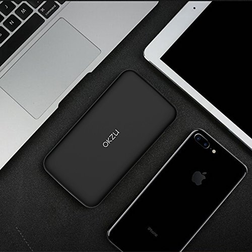 vitality Bank OKZU 10000mAh Thin light and mobile Portable Charger in size External Battery Pack utilizing USB Type C base gains for iPhone Samsung Huawei and more gear Black External Battery Packs