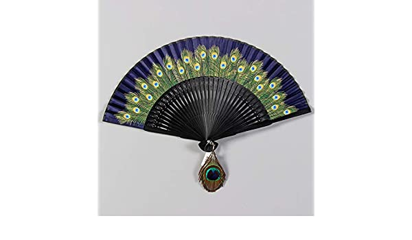 Ventilador plegable del ventilador del ventilador de pavo real hembra abanico plegable plegable regalo de la tecnología del ventilador D: Amazon.es: Bricolaje y herramientas