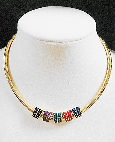 Joan Rivers QVC Classics Collections Multi Color Enamel Slider Necklace with Swarovski Rhinestones w Serpentine 17
