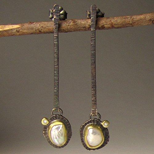 Baroque Pearl and Diamond Earrings
