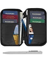Travel Wallet & Family Passport Holder RFID Blocking Document Holder & Organizer Protects Your Passports (Black)