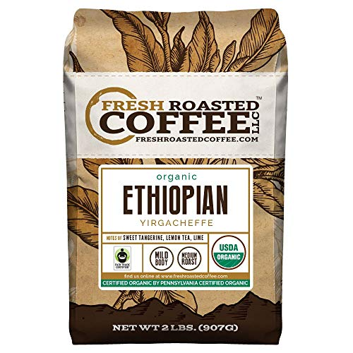 FTO Ethiopian Yirgacheffe Coffee, Whole Bean, Fresh Roasted Coffee LLC (2 lb.)