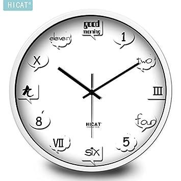 BYLE Elegante Salón European-Style creativo inglés silencio Digital Reloj de pared Reloj de pared para la decoración del hogar, 12 pulgadas ,CW005 pasador ...