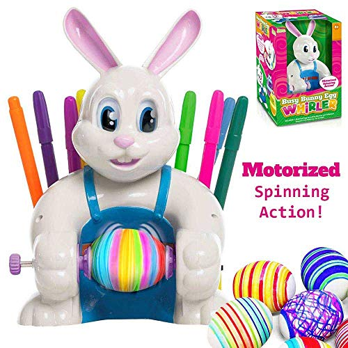 JOYIN Klever Kits Motorized Easter Egg Decorator Kit Battery Driven Busy Bunny Egg Whirler Easter Egg Spinner Decorating Machine with 10 Colorful Non-Toxic - Bunny Busy