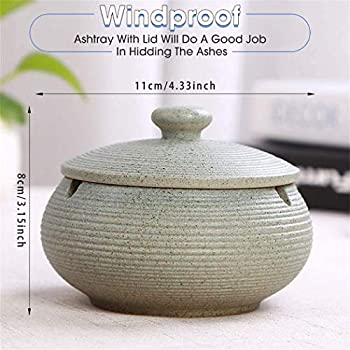 Ceramic Wind Ashtray ONEDERZ Outdoor Ashtray with Lid Odorproof Yellow Storm Ashtray for Home Office Decoration