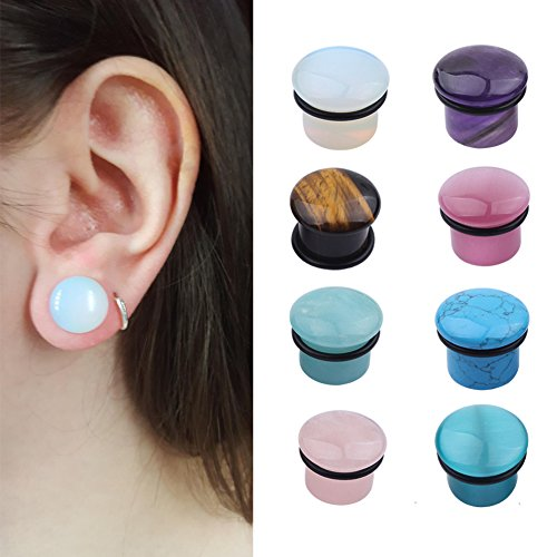 topbrighttrade 8 Pairs Mixed Stone Ear Gauges Ear Expanders 00g Plugs Single Flared Stone Tunnels O-Ring (00g(10mm))