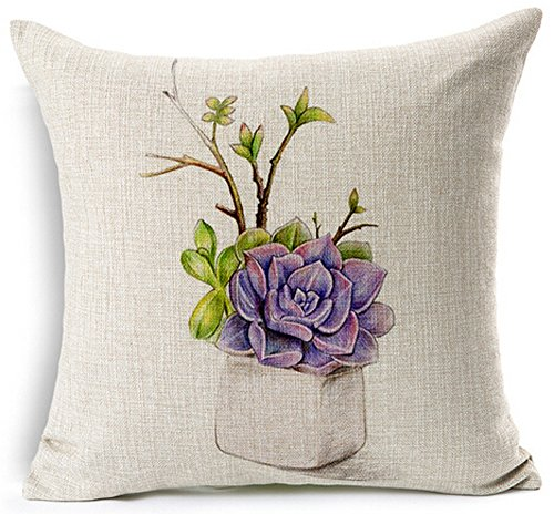 - Andreannie Fresh and colorful hand-painted potted succulents Home Cotton Linen Throw Pillow Case Personalized Cushion Cover NEW Home Office Decorative Square 18 X 18 Inches