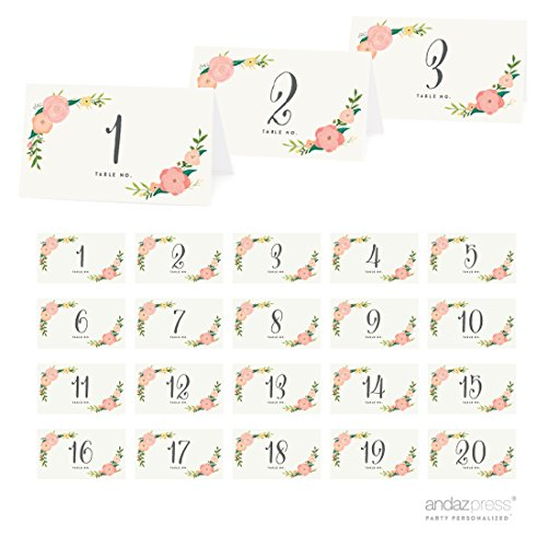 Andaz Press Table Tent Place Cards on Perforated Paper, Tea Party Floral Print, Table Number Collection, 20-Pack, Placecards Table Settings for use with Charger Plates and Place Card Holders, Catering, Food, Dessert Table Tent Cards -