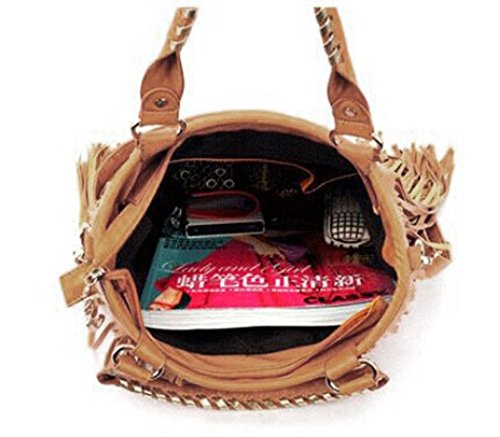 Womens PU Casual Black Large Bag Handbag Shoulder Crossbody Fringe Tassel Caszel Waterproof Hobo Bag Leather tzdnq5d1w