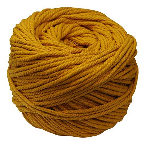 (Macrame Cord Mustard 4mm X 110m(About 120 yd) Natural Virgin Cotton Handmade Decorations Macrame Wall Hangings Plant Hanger Crocheting Bohemia Dream Catcher DIY Craft Knitting - Soft Mustard String)