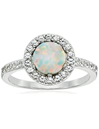 Rhodium Plated Sterling Silver Round Created White Opal 7mm and round Created White Sapphire Halo Ring, Size 7
