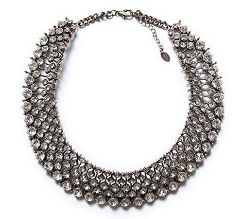 codice promozionale dcbeb b5f77 Zara - Collana statement in argento con cristalli: Amazon.it ...