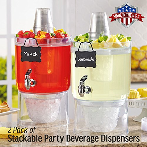 2 Pack Cold Beverage Drink Dispenser Stackable 1 75 Gallon With Chalkboard Label