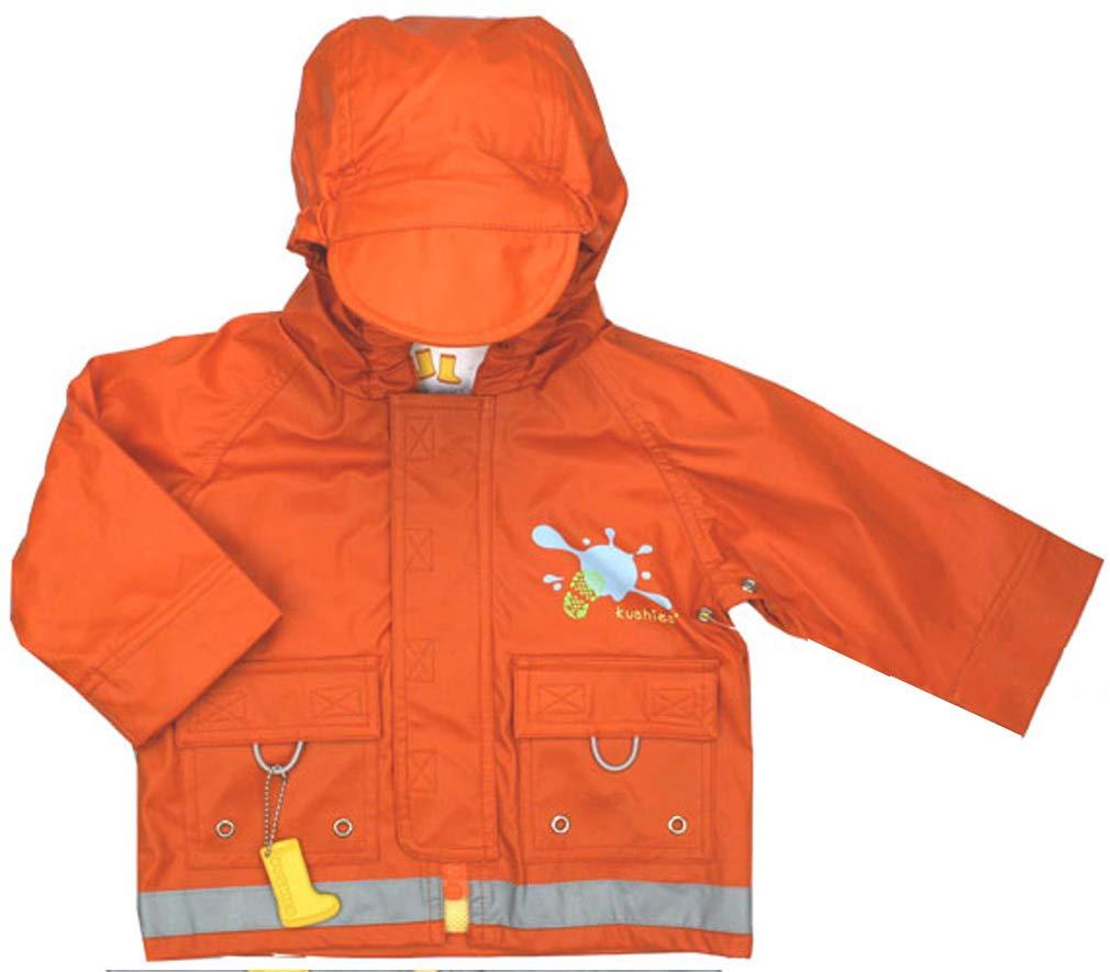 Kushies Orange Light Weight Hooded Rain Jackets for Baby, Fully Lined by Kushies