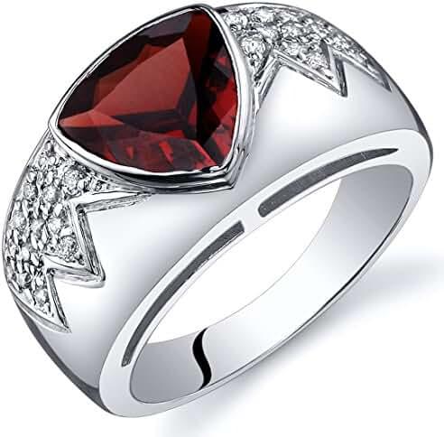 Garnet Museum Ring Sterling Silver Rhodium Nickel Finish Trillion Cut 2.00 Carats Sizes 5 to 9