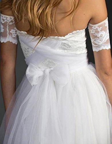 Mariée Jaycargogo Femmes Hors Manches Courtes Épaule Longue Robe De Mariée Blanche