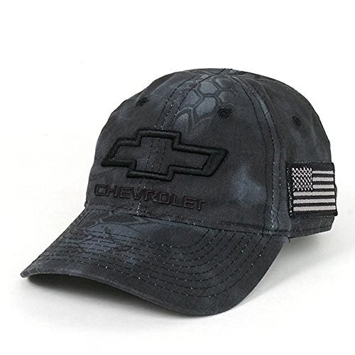 Chevrolet 3D Bowtie Tactical Camo Cap with USA Embroidered Flag Hat (Black)