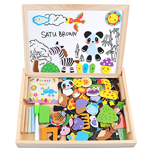 Wooden Toy Magnetic Board Puzzle Games , Double Side Jigsaw &Drawing Sketchpad Writing Dry Erase Board Chalkboard Educational Toys for Kids