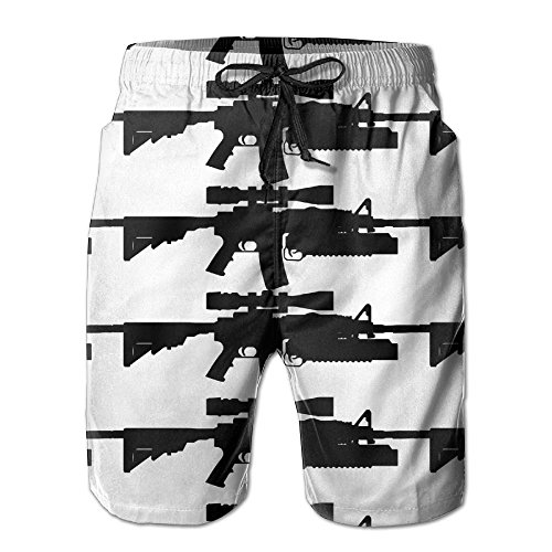 Sexy lovely Handsome Sniper Rifle Gun Quick Dry Lace Boardshort Beach Shorts Pants Swim Trunks Trendy Boys Swimsuit With Pockets