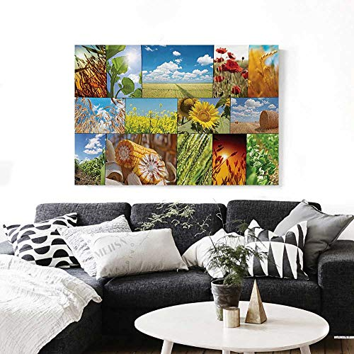 Casey Crop (BlountDecor Rustic Wall Art Canvas Prints Crops Under Sun Sunflower Wheat Field Rustic Farm Theme Idyllic Landscapes Print Ready to Hang for Home Decorations Wall Decor 36