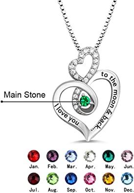 Getname Necklace Personalized 2 Names Simulated Birthstones Necklaces 2 Couple Hearts Name Engraved Pendants for Women