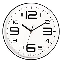 Filly Wink Modern Wall Clock Non Ticking Sweep Movement 3D Number Easy to Read Indoor Kitchen,Office 10 Inch White