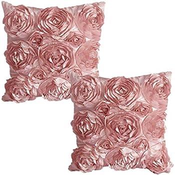 Amazon Juanshi Set of 2 Piece Decorative Rose Throw Pillow