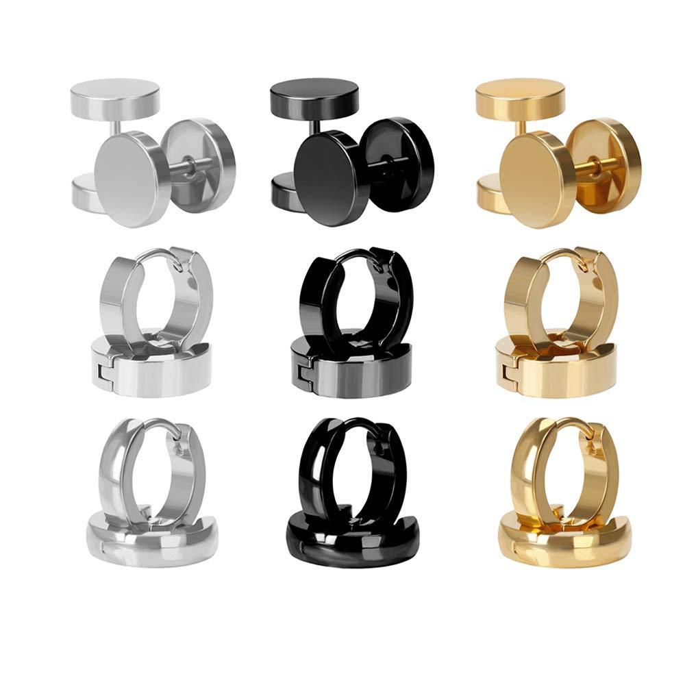 4-12 Pairs Stainless Steel Stud Earrings Hoop Earrings Set for Men Women BODYA Ear Piercings 18G