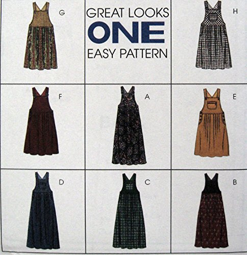 Misses Jumper Sewing Pattern Empire Bib McCall 8395 Size 12-14-16 Eight Looks Easy