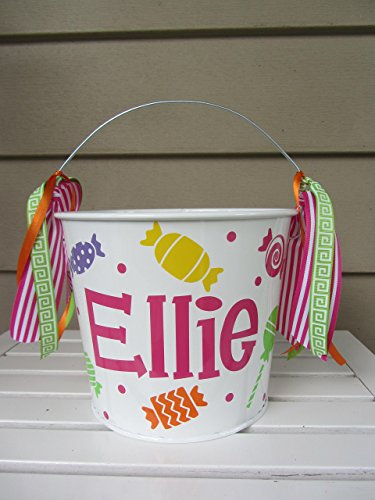 Personalized 5 quart Halloween pail or gift bucket- candy design -