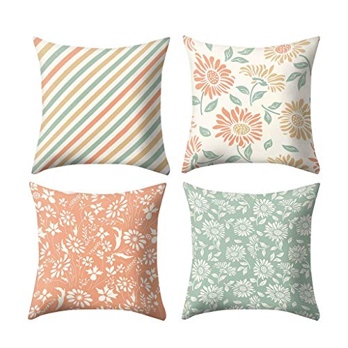 - Respctful✿ Throw Pillows coves 4 Pack 45cm x 45cm,Jacquard Colorful Print, Square Throw Pillow for Chair, Deco Indoor,