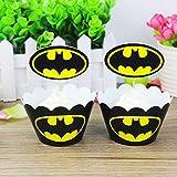 24pc Batman Cupcake Topper and Cupcake Wrapper Picks Boy Children Superhero Party Decoration Kids Birthday Avengers Party Decoration Supplies …