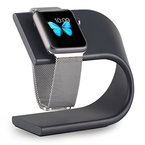 Apple Watch Stand, Renoj Apple iWatch Stand Charging Dock Station Sturdy Aluminum Platform Holder for 38mm and 42mm Sport / Edition 2015 Models ¨C Space Gray