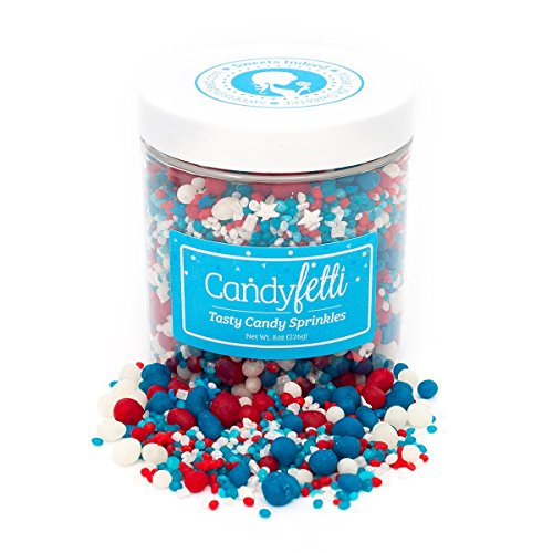 Patriotic Candy Sprinkles | Candyfetti | 8oz Jar | Red White and Blue | Edible Confetti | MADE IN THE USA! by Sweets Indeed (Image #1)