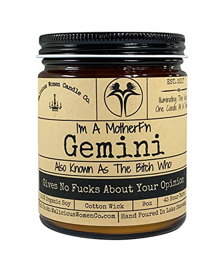 Malicious Women Candle Co - Gemini The Zodiac Bitch - Gives No Fucks About Your Opinion, Citrus & Sage, All-Natural Organic Soy Candle, 9 oz