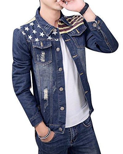 Jacket Hombre De Chaqueta con 01 Bolsillos Abrigo Slim Bandera Vaquero Outwear De Mezclilla Denim ww4PSqrHxf