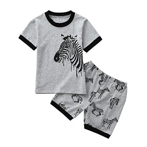 ❤️2PCs 1.5-7 Years Boys Girls Clothes Outfits Set Woaills Toddler Baby Kids Pajamas Tops Shorts (Gray, -