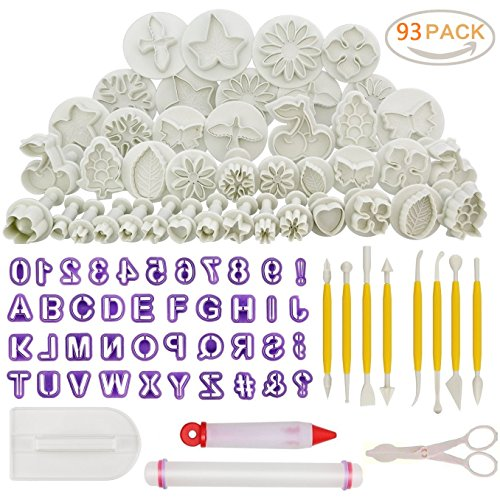 93pcs Cake Decorating Tool Set,Sugarcraft Cookie Mould Icing Plunger Modelling Cutter Tool,Alphabet Letters Rolling Pin Scissors Embosser Mould Tools,Flower Modelling Tools
