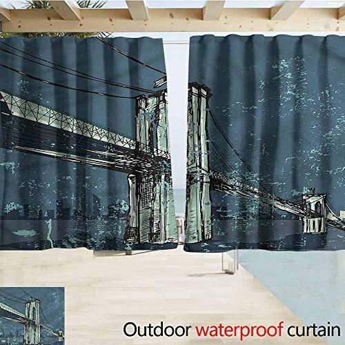 MaryMunger Window Curtains Urban Brooklyn Bridge Sketch Grunge Darkening Thermal Insulated Blackout W55x63L Inches