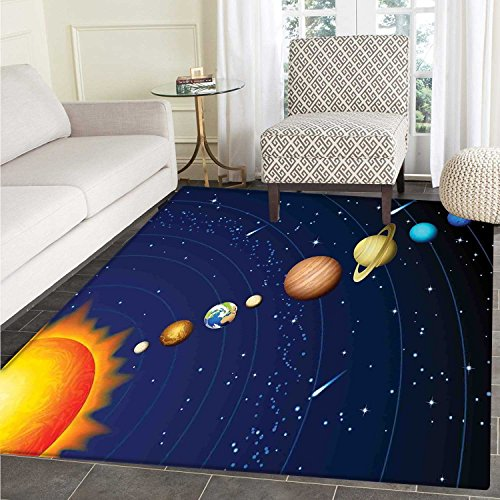 Space small rug Carpet Solar System with Sun Uranus Venus Jupiter Mars Pluto Saturn Neptune Image door mat indoors Bathroom Mats Non Slip 2'x3' Dark Blue Orange by Carl Morris