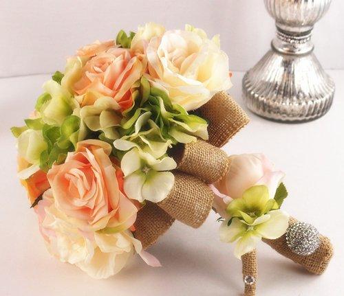 Classic-Elegant-Bridal-Bouquet-Boutonniere-Peach-Green-Rose-Hydrangea-with-Rhinestone-Handle