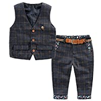 TAOJIAN Baby Vintage Style and Wedding Tuxedo Waistcoat Outfit Suit (2-3T, Dark Blue)