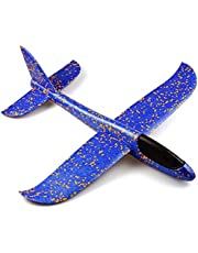 Kids Toys, Funny DIY Foam Throwing Glider Inertia Aircraft Toy Hand Launch Airplane Model Birthday Gifts School Prizes (Blue)