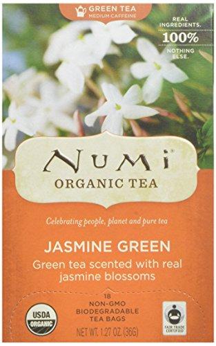 Numi Organic Tea vert au jasmin, thé vert feuille complète, 18-Count Sachets de thé (pack de 3)