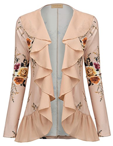 Print Blazer (Ruffle Floral Long Sleeve Cardigans Peasant Jacket(XL Apricot))