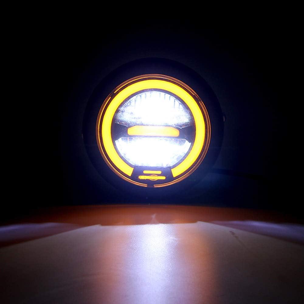 Lumi/ère jaune 6,8 pouces Modifi/é M/étal G/én/éral R/étro Moto Rond LED Phares Avant Pour Cruise Harley Prince CG Caf/é Racer Bobber Personnalis/é