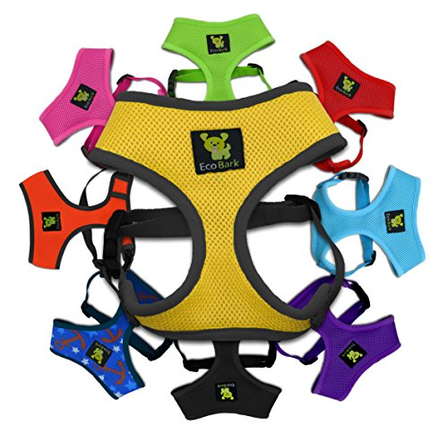 EcoBark Pet Supplies Dog Harness 6-10 lbs; Innovative No Pull & No Choke Design, Soft Double Padded Vest for Premium Control, Eco-Friendly Emergency Quick Release For Puppies and Dogs (Small, Yellow)